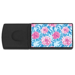 Blue & Pink Floral USB Flash Drive Rectangular (1 GB)