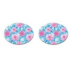 Blue & Pink Floral Cufflinks (Oval)
