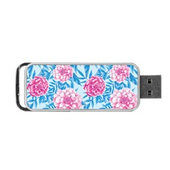 Blue & Pink Floral Portable Usb Flash (two Sides)