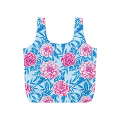 Blue & Pink Floral Full Print Recycle Bags (S)
