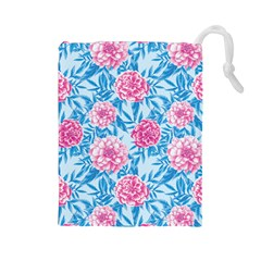 Blue & Pink Floral Drawstring Pouches (Large)