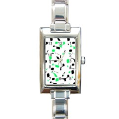 Green, black and white pattern Rectangle Italian Charm Watch