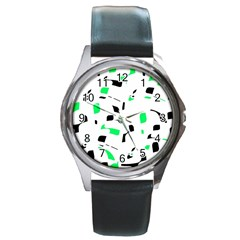 Green, black and white pattern Round Metal Watch