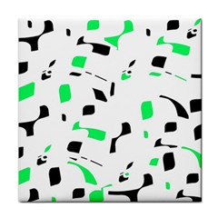 Green, black and white pattern Tile Coasters