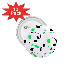 Green, black and white pattern 1.75  Buttons (10 pack)