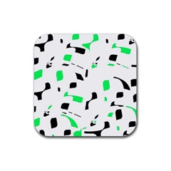 Green, black and white pattern Rubber Square Coaster (4 pack)