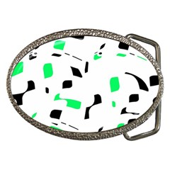 Green, black and white pattern Belt Buckles