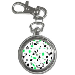 Green, black and white pattern Key Chain Watches