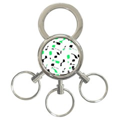 Green, black and white pattern 3-Ring Key Chains