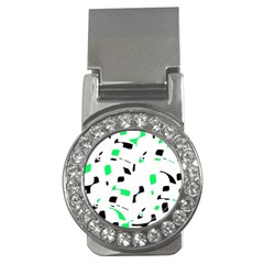 Green, black and white pattern Money Clips (CZ)