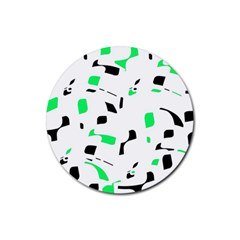 Green, black and white pattern Rubber Round Coaster (4 pack)