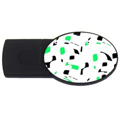 Green, black and white pattern USB Flash Drive Oval (1 GB)