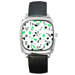 Green, black and white pattern Square Metal Watch