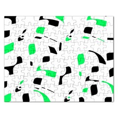Green, black and white pattern Rectangular Jigsaw Puzzl