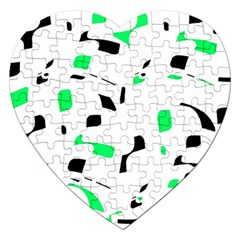 Green, black and white pattern Jigsaw Puzzle (Heart)