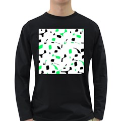 Green, black and white pattern Long Sleeve Dark T-Shirts