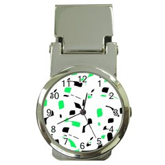 Green, black and white pattern Money Clip Watches