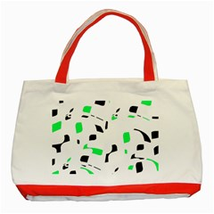 Green, black and white pattern Classic Tote Bag (Red)