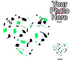 Green, black and white pattern Playing Cards 54 (Heart)