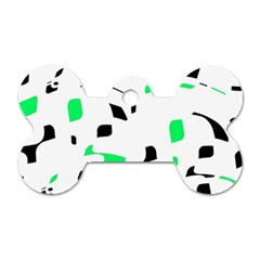 Green, black and white pattern Dog Tag Bone (Two Sides)