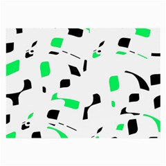 Green, black and white pattern Large Glasses Cloth