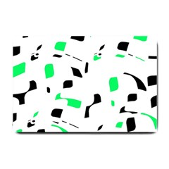 Green, black and white pattern Small Doormat