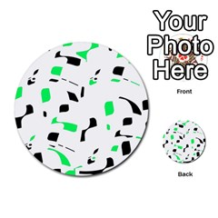 Green, black and white pattern Multi-purpose Cards (Round)