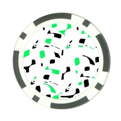 Green, black and white pattern Poker Chip Card Guards (10 pack)