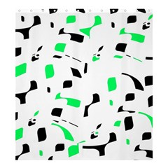 Green, black and white pattern Shower Curtain 66  x 72  (Large)
