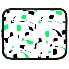 Green, black and white pattern Netbook Case (XL)