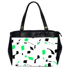 Green, black and white pattern Office Handbags (2 Sides)