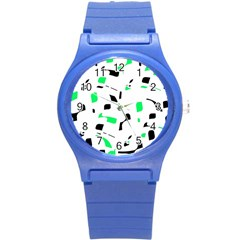 Green, black and white pattern Round Plastic Sport Watch (S)