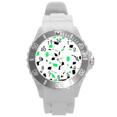 Green, black and white pattern Round Plastic Sport Watch (L)