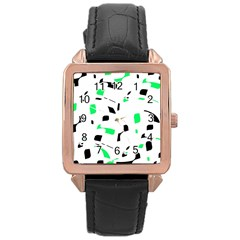 Green, black and white pattern Rose Gold Leather Watch