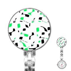 Green, black and white pattern Stainless Steel Nurses Watch