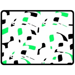 Green, black and white pattern Double Sided Fleece Blanket (Large)