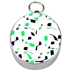 Green, black and white pattern Silver Compasses