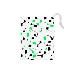 Green, black and white pattern Drawstring Pouches (Small)