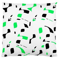 Green, black and white pattern Large Flano Cushion Case (Two Sides)