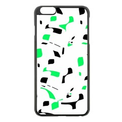 Green, black and white pattern Apple iPhone 6 Plus/6S Plus Black Enamel Case