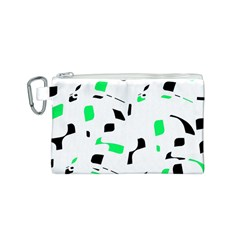 Green, black and white pattern Canvas Cosmetic Bag (S)