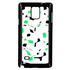 Green, black and white pattern Samsung Galaxy Note 4 Case (Black)