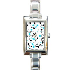 Blue, black and white pattern Rectangle Italian Charm Watch