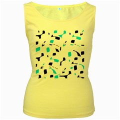 Blue, black and white pattern Women s Yellow Tank Top