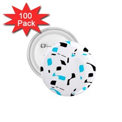 Blue, black and white pattern 1.75  Buttons (100 pack)
