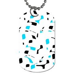 Blue, black and white pattern Dog Tag (One Side)