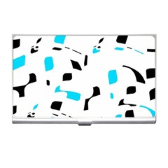 Blue, black and white pattern Business Card Holders