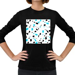 Blue, black and white pattern Women s Long Sleeve Dark T-Shirts