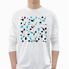 Blue, black and white pattern White Long Sleeve T-Shirts