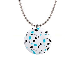 Blue, black and white pattern Button Necklaces